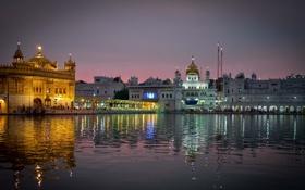 Картинка вода, город, отражение, вечер, Индия, храм, India