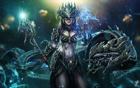 Картинка змеи, девушка, магия, дракон, корона, маска, арт