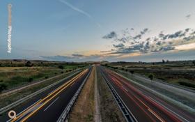 Обои дорога, огни, трасса, вечер, выдержка, автобан