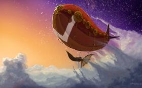 Картинка облака, полет, корабль, арт, дирижабль, летучий, в небе