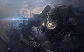 Картинка металл, провода, робот, меч, арт, монстры