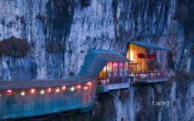 Обои огни, скала, Китай, кафе, пещера, sanyou cave