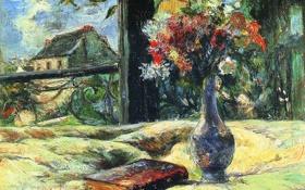 Картинка цветы, букет, картина, книга, ваза, домик, натюрморт