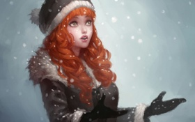 Картинка девушка, снег, снежинки, арт