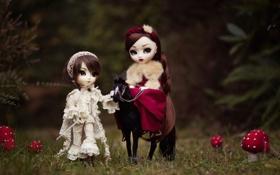 Обои природа, лошадь, девочки, игрушки, грибы, куклы