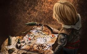 Обои карта, Edward Kenway, Эдвард, арт, black flag, assassins creed IV, ассасин