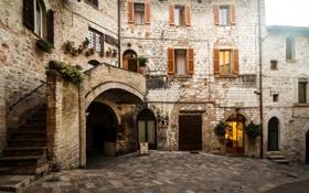 Обои небо, стены, окна, площадь, день, лестница, италия