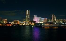 Картинка ночь, дома, Япония, Japan, night, Йокогама, Yokohama