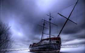 Обои зима, корабль, лёд