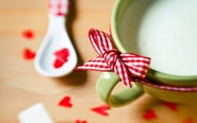 Обои Spoonful of Love, taza, cup, hearts