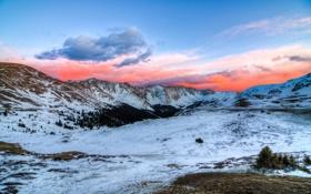 Обои закат, горы, снег