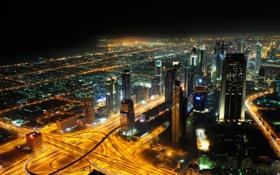 Картинка ночь, город, огни, здания, дороги, дома, небоскребы