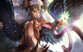 Обои девушка, украшения, глаз, магия, змея, крылья, арт