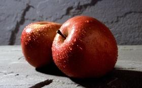 Обои воды, капли, яблоки, яблоко