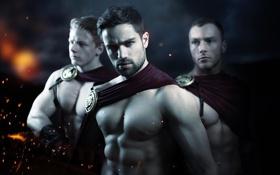 Обои модель, 300 спартанцев, парни, торс, мужчины