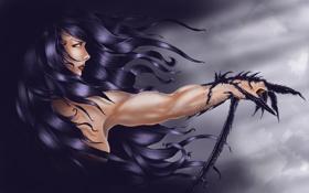 Картинка взгляд, девушка, волосы, рука, арт, когти, профиль