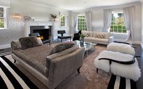 Картинка камин, фото, гостиная, интерьер, диван, мех