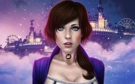 Обои небо, девушка, ночь, город, игра, голубые глаза, art
