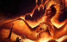 Картинка оружие, золото, огонь, магия, дракон, череп, крылья