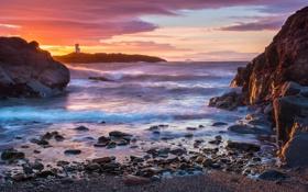 Обои Sunrise, Sea, Elie Lighthouse