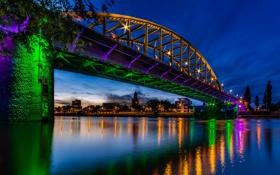 Обои мост, блики, река, Нидерланды, ночной город, Netherlands, Рейн