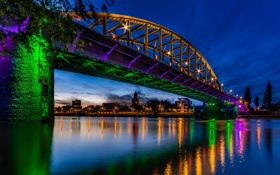 Картинка мост, блики, река, Нидерланды, ночной город, Netherlands, Рейн