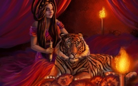 Картинка огонь, платье, девушка, тигр, волосы, прическа, лицо