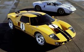 Картинка ford, форд, суперкары, старый и новый, goodyear, желтый и серебристый