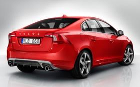 Обои car, Volvo, red, вид сзади, вольво, S60, R-design