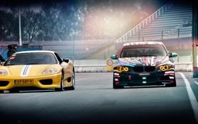 Обои BMW, Тюнинг, F430, Ferrari, Трасса, E92, Spider