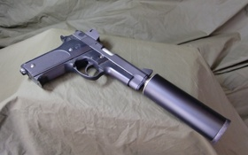 Обои пистолет, оружие, ствол, глушитель