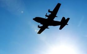 "Обои небо, полёт, самолёт, C-130 ""Hercules"""