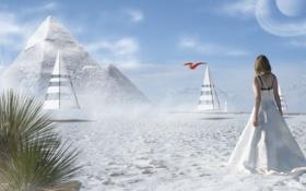 Картинка песок, девушка, пальмы, пирамиды, конусы