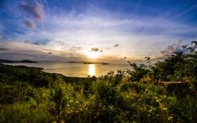 Картинка закат, облака, берег, острова, зелень, море