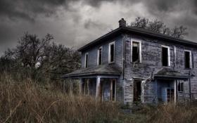 Обои осень, трава, дом, здание, разруха, запустение