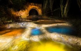 Картинка вода, ночь, огни, парк, арка