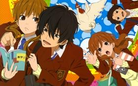 Обои взгляд, курица, учебники, Я и Чудовище, Шидзука, The Monster Next to Me, Хару