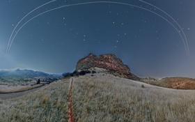 Картинка небо, звезды, шаттл, МКС