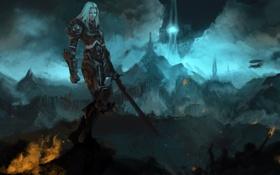 Картинка девушка, горы, огонь, башня, меч, арт, World of Warcraft