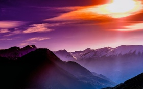 Картинка sky, sunset, winter, mountains, horizon, violet, mountainline