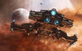 Обои линейный крейсер, звезды, starcraft2, планета