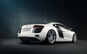 Обои белый, Audi, ауди, тень, white, задняя часть