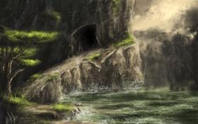 Обои пещера, птицы, вода, озеро, скала, дерево, тропа