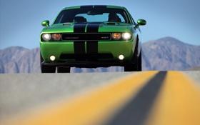 Картинка дорога, машины, дороги, фокус, тачки, зелёный, Dodge