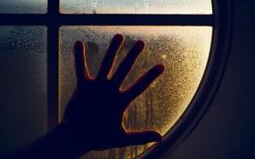 Обои макро, рука, окно, капли воды