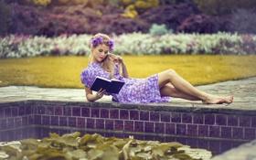 Картинка платье, книга, ножки, венок