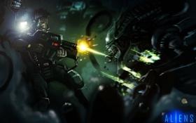 Картинка темно, чужие, Alien, Aliens, морпех, спецназовец, xenomorph
