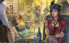 Картинка девушка, люди, труп, ночной клуб, Alex Lei Sheng