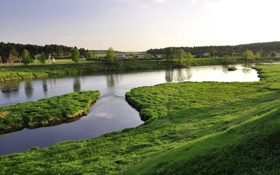 Обои зелень, трава, вода, река, дома, деревня