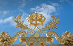 Обои Франция, корона, ограда, ограждение, дворец, элемент, Версаль